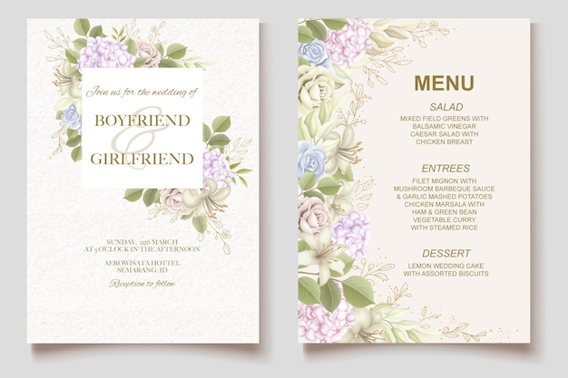 Elegant beautiful floral and wedding invitation