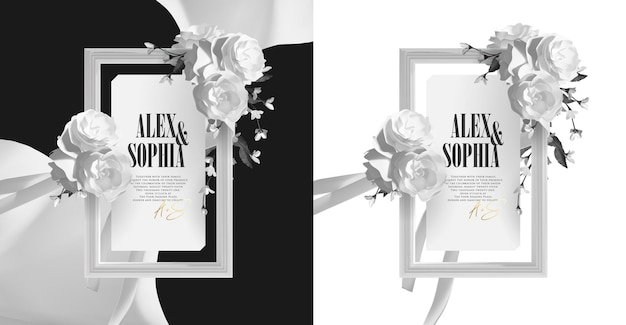 Elegant beautiful frame with white roses wreath