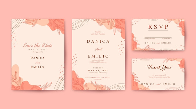 Elegant and beautiful pink wedding invitation template Premium Vector