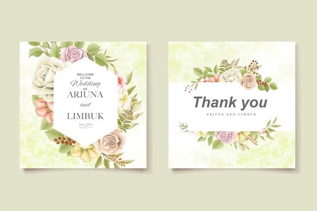 エレガントで美しい柔らかい花と結婚式の招待状を残します