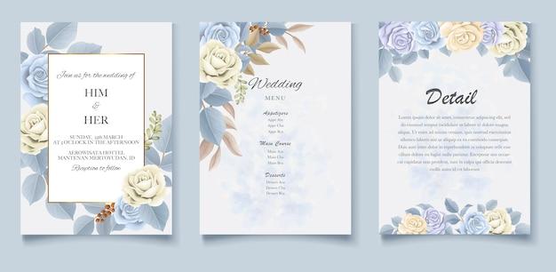 Элегантный красивый мягкий цветочный и листья свадебного приглашения