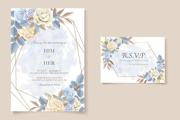 Elegant beautiful soft floral and leaves wedding invitation