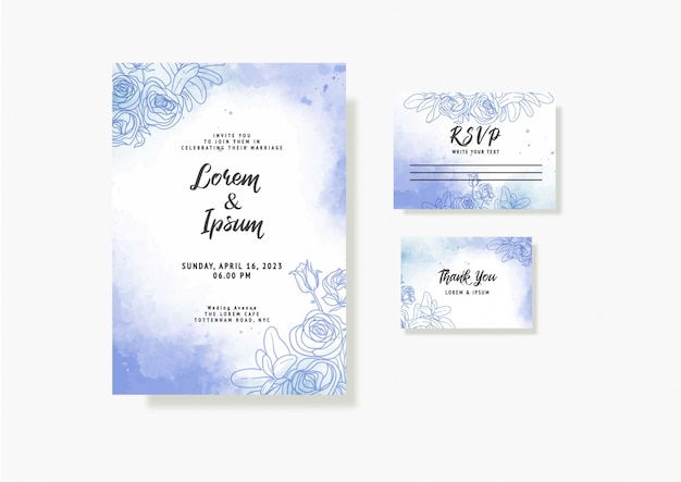 아름다운 꽃과 잎 수채화 템플릿 우아한 아름다운 웨딩 카드