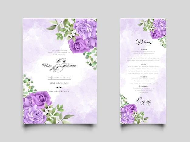 Elegant and beautiful wedding invitation template with hand drawn purple roses