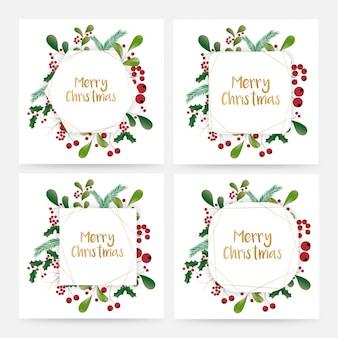 Elegant beautifully designed merry christmas floral artwork
