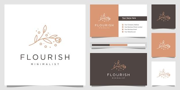 エレガントな美しさの花のロゴデザインラインアートスタイルフェミニンなロゴデザインと名刺