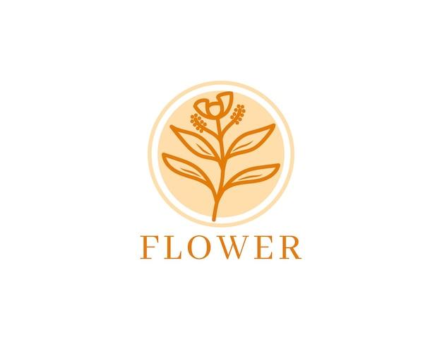 Элегантный цветочный дизайн логотипа в винтажном стиле