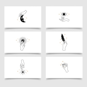 Elegant beauty hand logo editable template