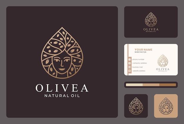 Элегантный дизайн оливкового логотипа красоты с шаблоном визитной карточки.