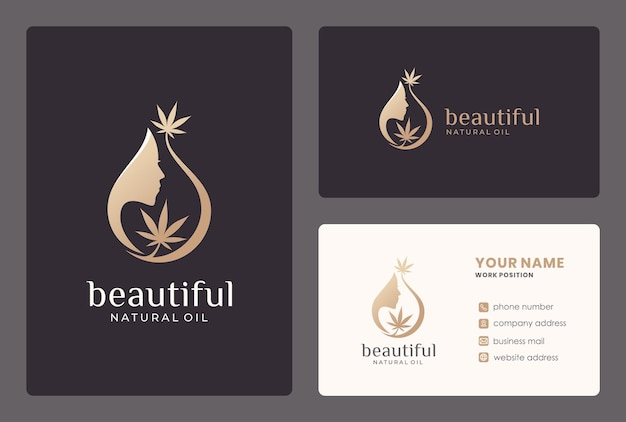 Elegant beauty woman logo design with business card