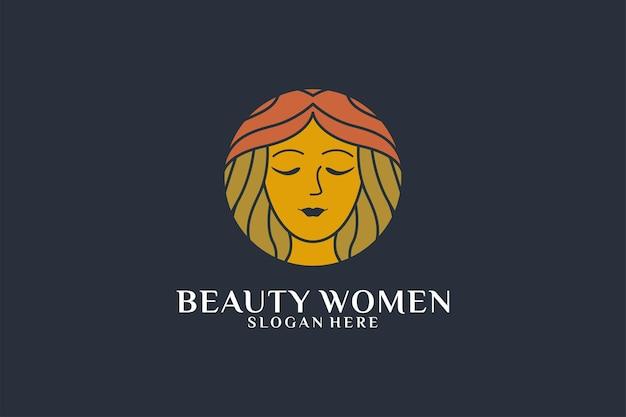 우아한 아름다움 여자 얼굴 로고 디자인