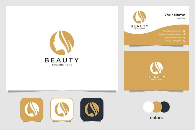 우아한 아름다움 여성 로고 디자인 및 명함