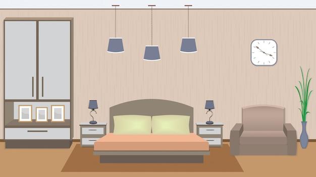 Элегантный интерьер спальни с мебелью, комнатным растением, фоторамками.