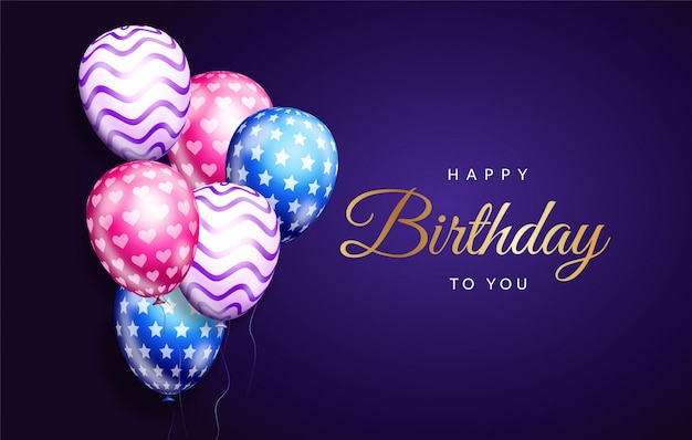 Elegant birth day card with colorful balloons