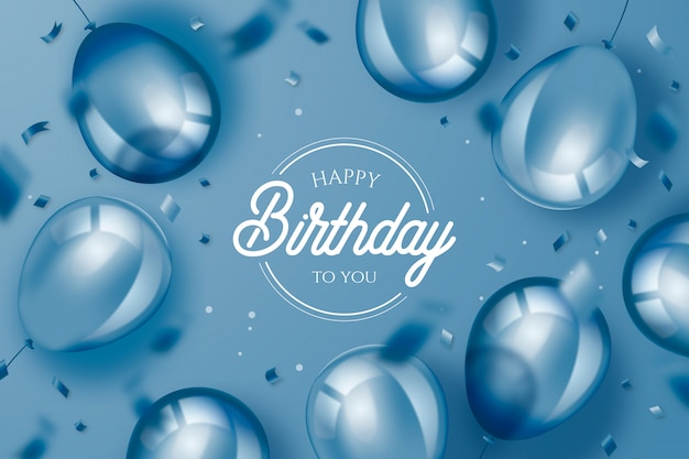 Elegant birthday background with realistic balloons