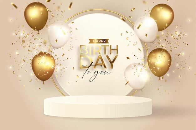 Elegante sfondo di compleanno con podio realistico