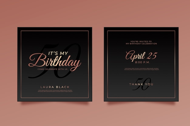 Elegant birthday card invitation template