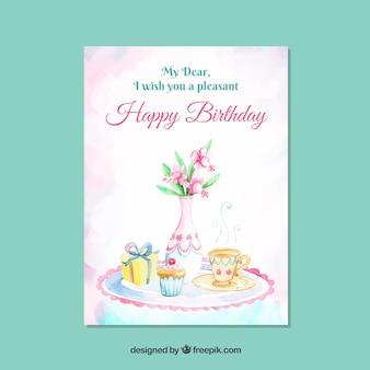 식물을 가진 우아한 생일 카드 템플릿