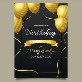 Elegant birthday card template with realistic balloons