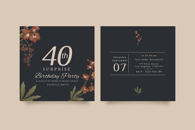 Elegant birthday card template