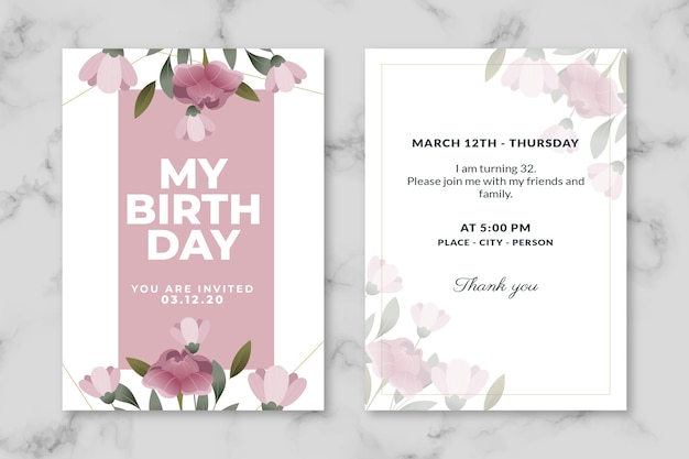 Elegant birthday invitation template collection