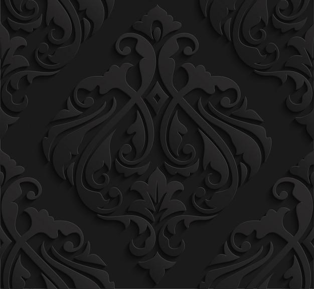 Elegant black 3d damask seamless pattern