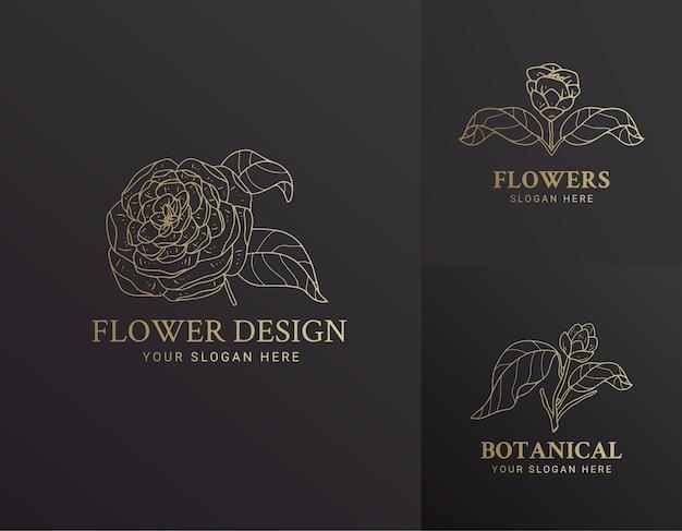 우아한 블랙과 골드 손으로 그린 꽃 식물 로고 그림 디자인 아름다움 천연 유기농 브랜드에 대 한 설정