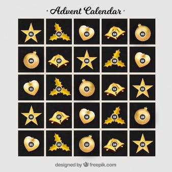 Elegant black and golden advent calendar