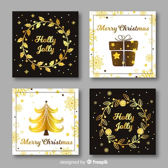 Elegant black and golden christmas card collection