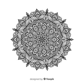 Elegant black and white mandala concept background