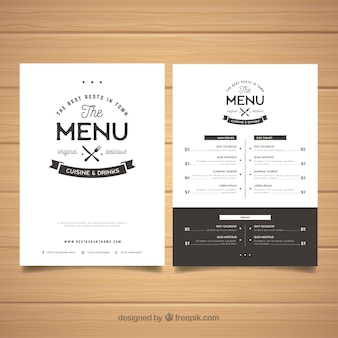 Elegant black and white menu template