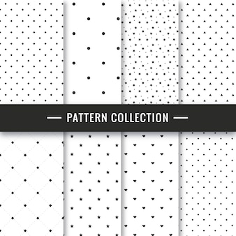 Elegant black and white seamless pattern set