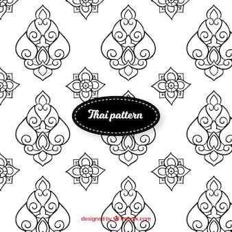 Elegant black and white thai pattern