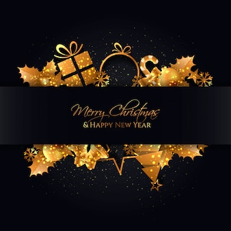 Elegant black christmas background with a gold elements