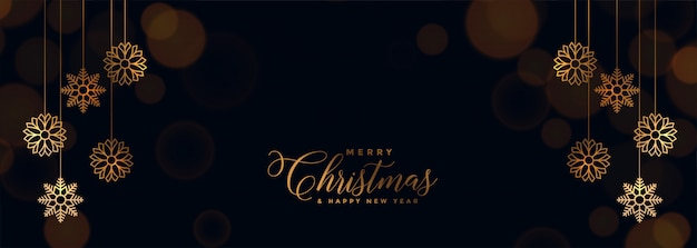 Elegant black christmas banner with golden snowflakes