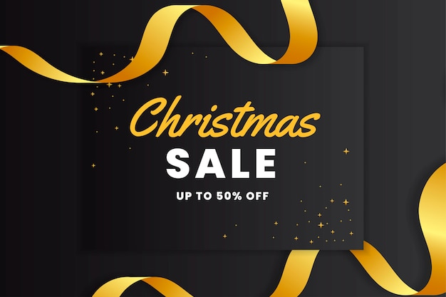 Elegant black christmas sales banner with gold ribbon