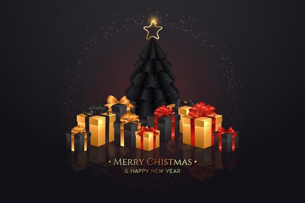 現実的なギフトとエレガントな黒のクリスマスツリーの背景