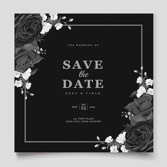 우아한 검은 꽃 결혼식 초대 카드 템플릿