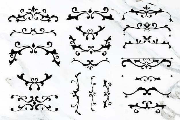 Elegante collezione di cornici vettoriali per ornamenti floreali neri