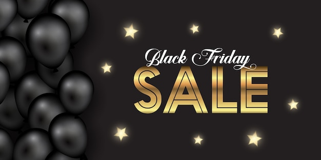 Elegant black friday banner with gold stars and balloons