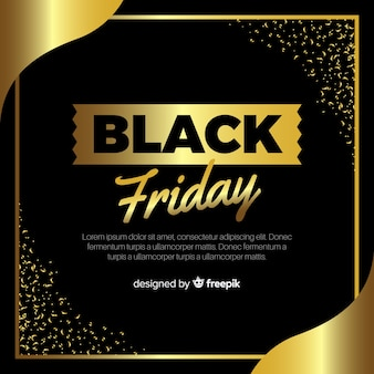 Elegant black friday composition with golden style