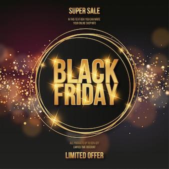 Elegant black friday sale background with golden fram
