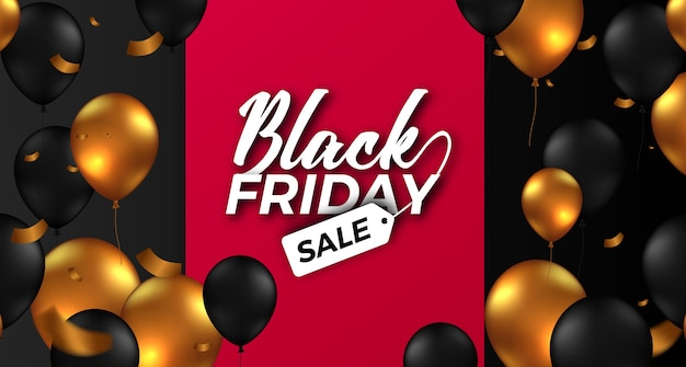 Elegant black friday sale offer banner with flying helium balloon