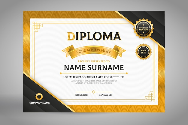 Elegant black and gold diploma certificate template
