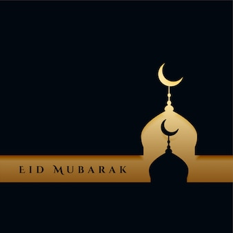Elegant black and gold eid festival greeting background