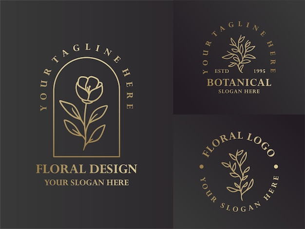 Elegant black and gold monoline floral and botanical logo design