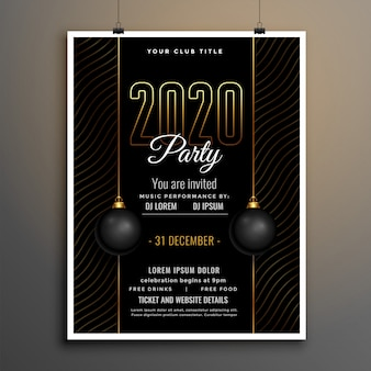Elegant black and gold new year party flyer template
