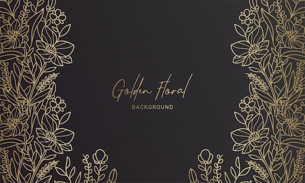 Elegant black and gold symmetrical floral plant leaf hand drawn illustration background