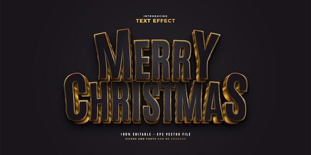 Elegant black and gold text style with 3d effect. editable text style effect