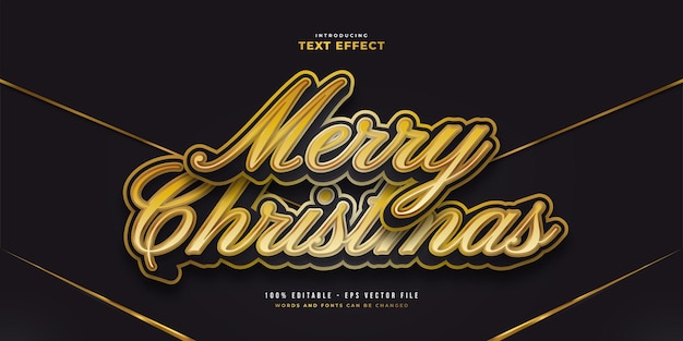 Elegant black and gold text style with cartoon effect. editable text style effect